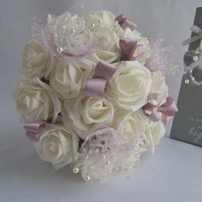 Artificial Ivory Foam Roses Bridesmaid Bouquet