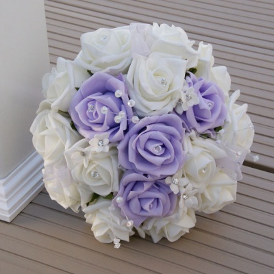 Artificial Ivory and Lilac Foam Rose Crystal Bridesmaid Bouquet