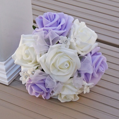 Artificial Ivory and Lilac Foam Rose Flower Girl Posy