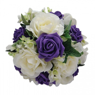 Purple and Cream Bridesmaid Flowers