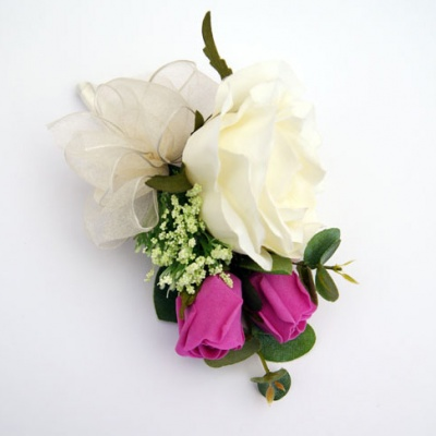 Silk Corsage – Cream & Dark Pink