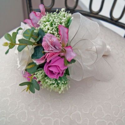 Dark Pink and Cream Flowergirl Posy