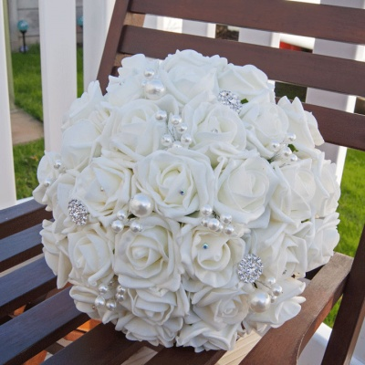 Artificial Ivory Foam Rose with Pearl Bridal Bouquet