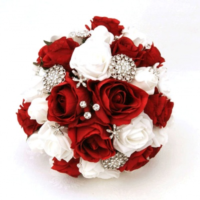Red and White Jewelled Bouquet