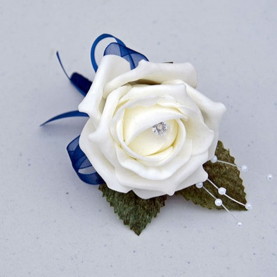 Cream and Navy buttonhole