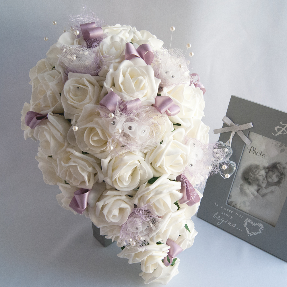 Artificial Ivory Foam Roses Bridal Bouquet Rosie Silk Flowers