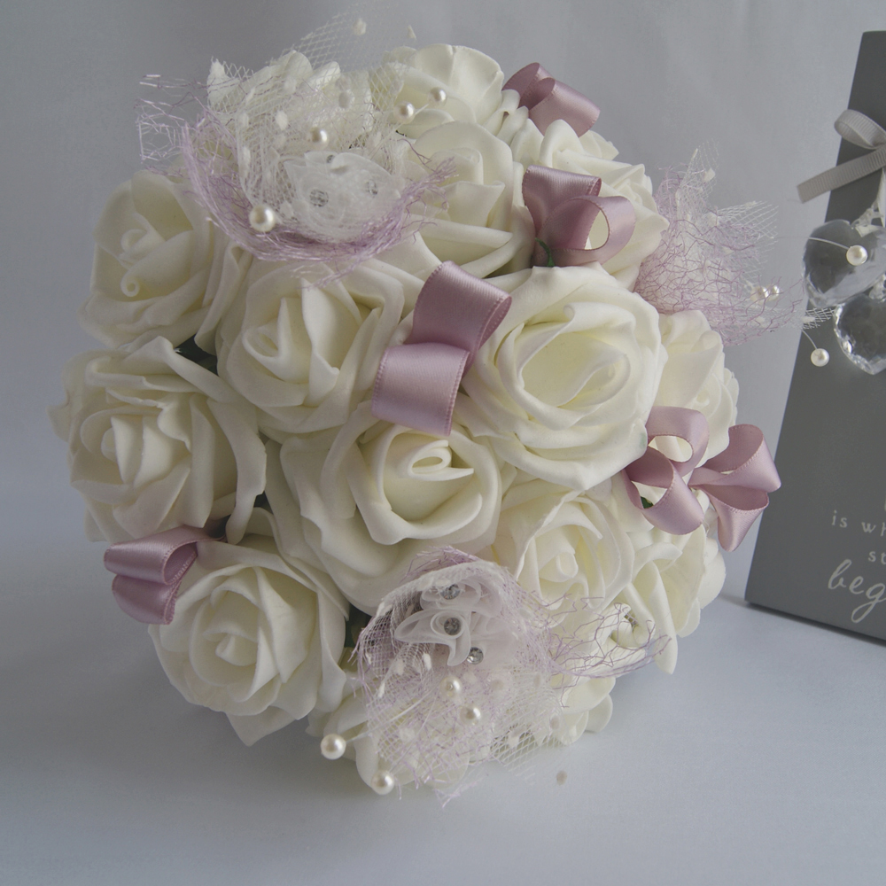 Artificial Ivory Foam Roses Bridesmaid Bouquet Rosie Silk Flowers