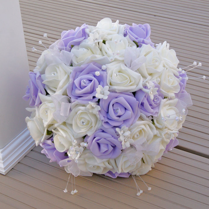 Artificial Ivory and Lilac Foam Rose Crystal Bridesmaid Bouquet ...