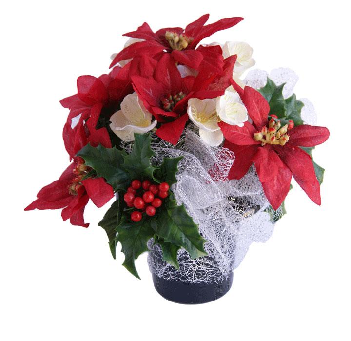 Christmas Grave Decorations Uk: Christmas Grave Pot Rosie Silk Flowers