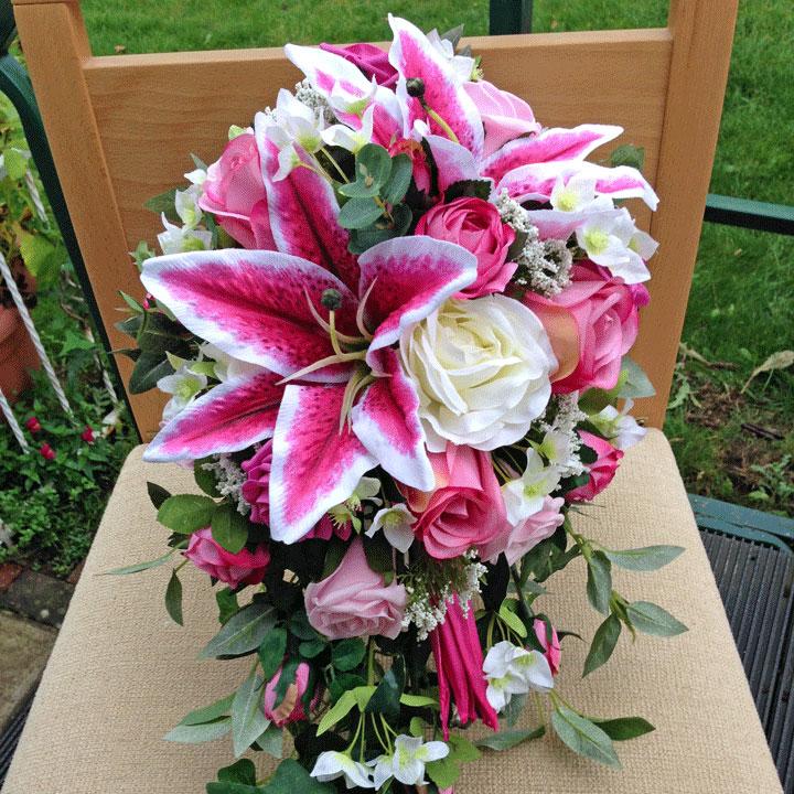 Pink Cascading Bouquet Rosie Silk Flowers