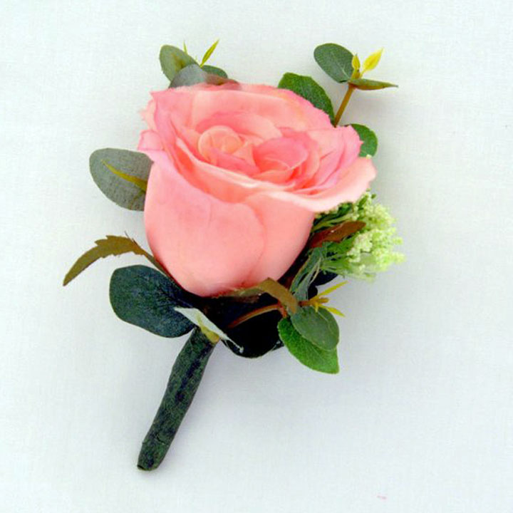 Buttonhole In Pink Rosie Silk Flowers