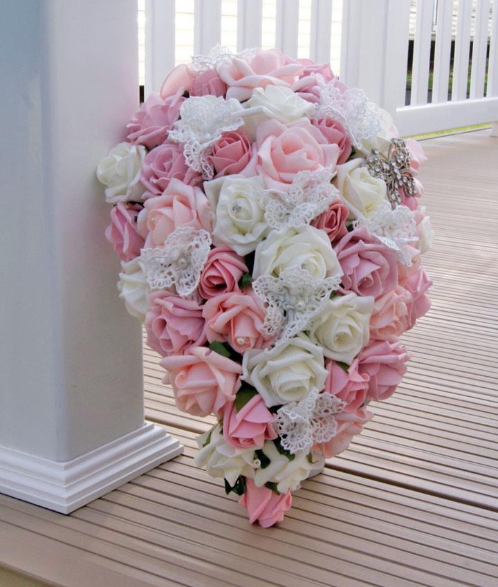 Cascading bouquet Rosie Silk Flowers