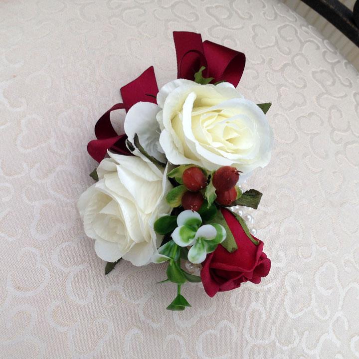 Wrist corsage in cream and burgundy rosie silk flowers wrist corsage in cream and burgundy mightylinksfo Choice Image
