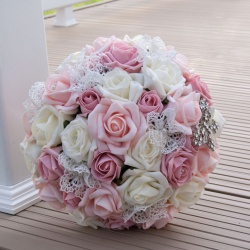 Handtied Bridal Bouquet of Pink Foam Roses