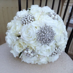 Brooch Bouquet with Cream Roses