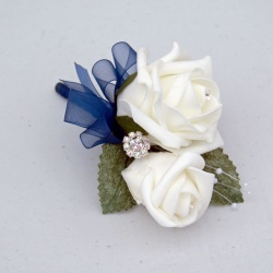 Cream and Navy Corsage