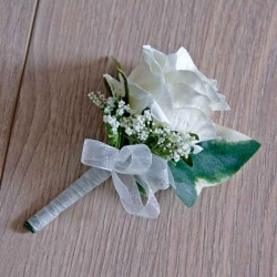 Artificial Ivory Rose Buttonhole