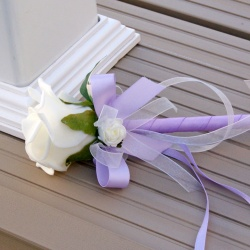 Artificial Lilac and Ivory Flower Girl Wand