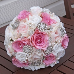 Jewelled Brides Bouquet Pinks