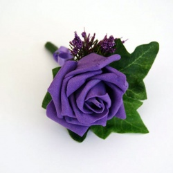 Single Purple Rose Buttonhole