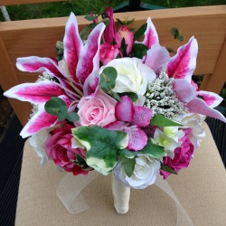 Pink Tiger Lily Bridesmaid Bouquet