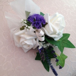 Wrist Corsage in Ivory and Purple