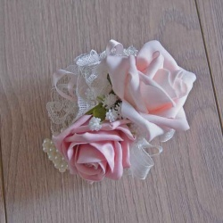 Wrist Corsage with pink foam roses